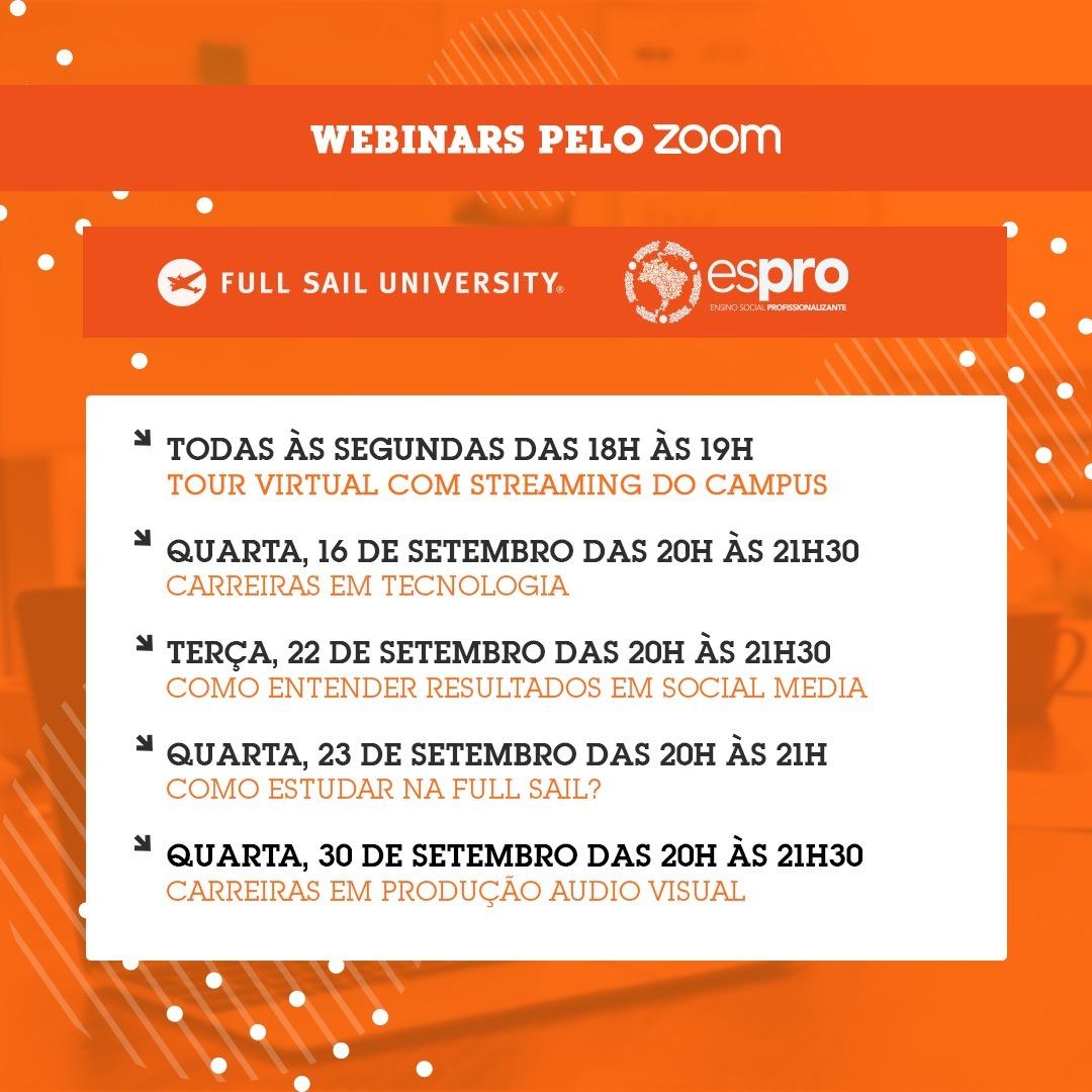 Põe na agenda: webinars gratuitos Full Sail University (set/2020)